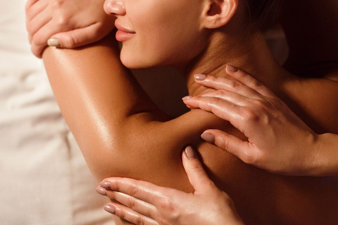 Body Massage. Woman Enjoying Shoulder Massage In Spa Salon, Top
